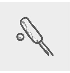 Cricket set game sketch icon vector image