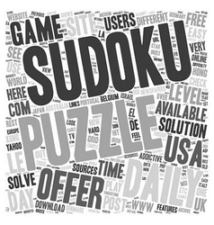 Daily sudoku text background wordcloud concept vector