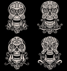 Day of the dead skull tattoo set vector