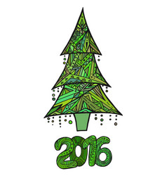 doodle card with christmas tree and date vector image vector image