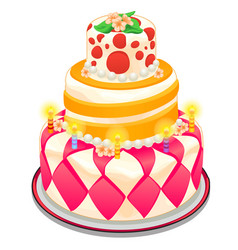festive cake with candles beads and flowers vector image