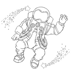 Greeting astronaut in an orange space vector