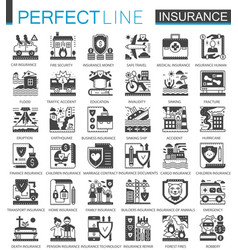 Insurance black mini concept symbols accident vector
