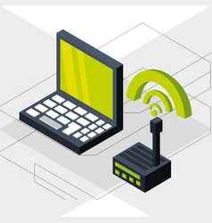 Isometric laptop with wifi connection vector