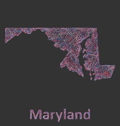 Maryland line art map vector