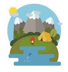 Mountain Lake Camp Ecological Landscape vector image vector image
