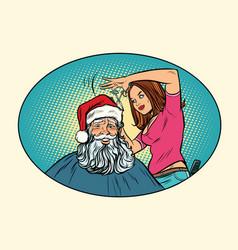 santa claus at the barber vector image vector image
