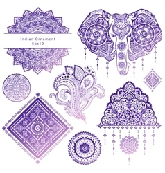 Set of ornamental Indian symbols vector image