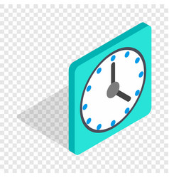 Square wall clock isometric icon vector