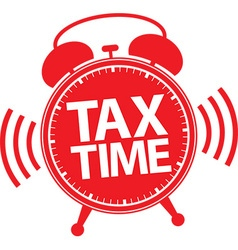 Tax time alarm clock red icon vector