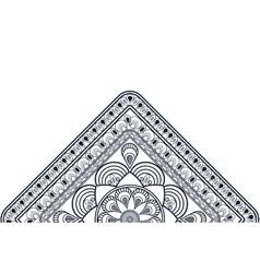 Triangular decorative line half mandala icon vector