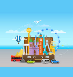 vacation travelling composition with the open bag vector image