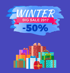 Winter big sale 2017 discount advert promo label vector