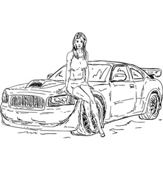 Women and car vector