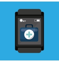 Smartwatch device health bag fisrt aid vector