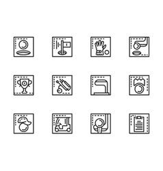 Golf game black line icons set vector image