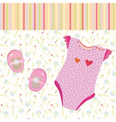 Baby girl background with shoes vector