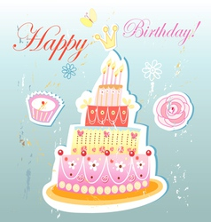 Birthday cake and pastries vector