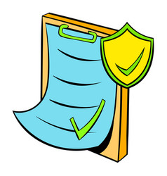 Clipboard with insurance form icon cartoon vector