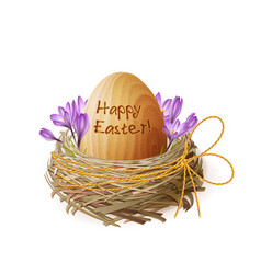 Vintage easter egg in a wicker nest vector