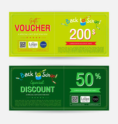 gift voucher or gift coupon for back to school vector image