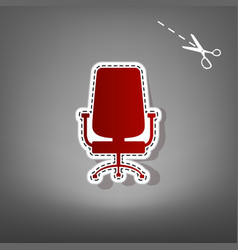 Office chair sign  red icon with for vector