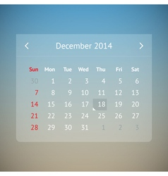 Calendar page for december 2014 vector