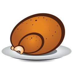 Cartoon roast turkey vector