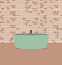 Single bathtub in front of brick wall vector