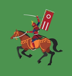 Samurai warrior riding horse with sword vector