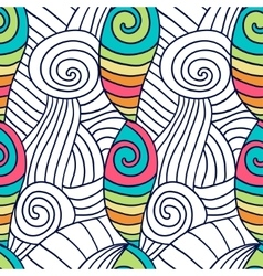 Hand drawn coloring page spiral wavy background vector