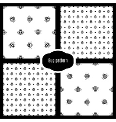 Set bug seamless pattern vector
