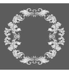 Vintage baroque frame border with leaf scroll vector image