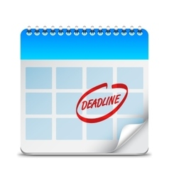 Deadline word on calendar vector
