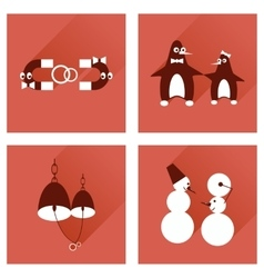 Set of flat web icons with long shadow lovers vector