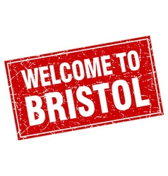 Bristol red square grunge welcome to stamp vector