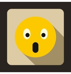 Frightened emoticon with open mouth icon vector