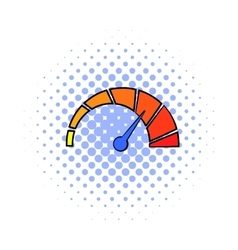 Colorful tachometer icon comics style vector image