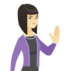 Asian business woman showing palm hand vector