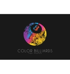 billiard ball logo Billiard logo Color ball logo vector image