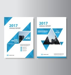 Blue triangle annual report leaflet brochure set vector