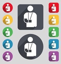 Broken arm disability icon sign a set of 12 vector