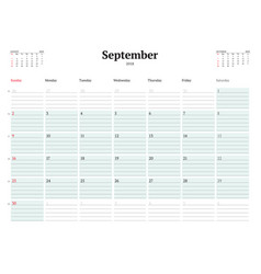 calendar planner template for 2018 year september vector image