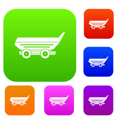 car trailer set color collection vector image