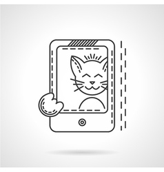 Cat selfie thin line style icon vector
