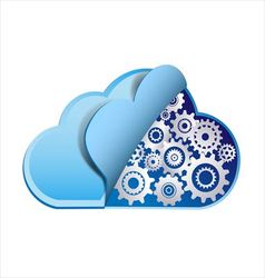 Cloud computing with metal gears vector image