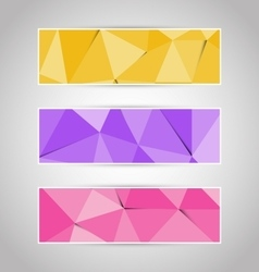 Colorful abstract triangular polygonal banners set vector image vector image