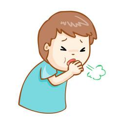 Coughing man cartoon vector