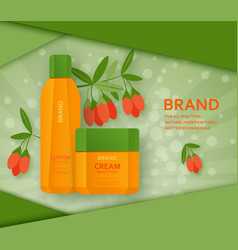 cream and lotion bottles with its ingradient berry vector image