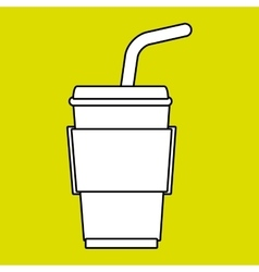 cup plastic straw icon vector image